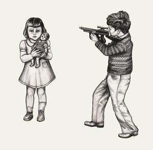 Boy threatening girl with toy gun