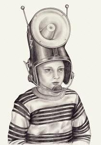 Boy wearing megaphone helmet