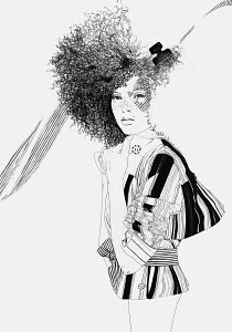 Stylish woman with afro