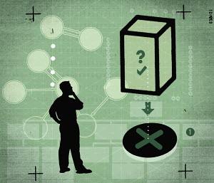 Businessman solving puzzle