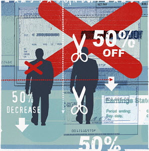 Businessmen with 50% off sign