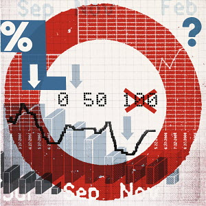 Montage of symbols and financial charts