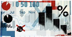 Montage of financial symbols