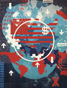 Montage of map images and financial symbols