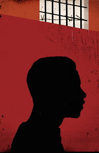 Close up silhouette of prisoner�s profile