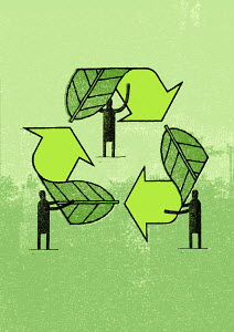 Men forming recycling symbol out of green leaves