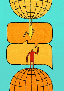 Anthropomorphic speech bubbles connecting man and woman on opposite globes