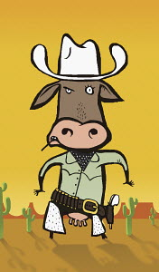 Cow in cowboy outfit