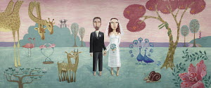 Bride and groom in forest with animal pairs