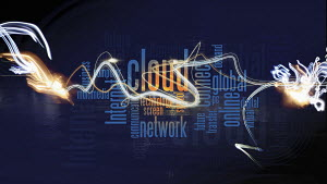 Montage of computing buzzwords with light trails