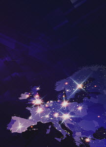 Lights shining on futuristic map of Europe