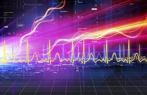 Abstract bright lights streaming across grid with wave pattern graph