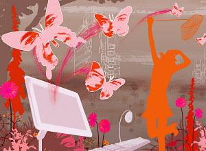 Woman, butterflies and computer