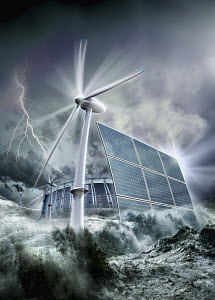 Windmill and solar panels in ocean
