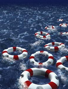 Life rings floating in water