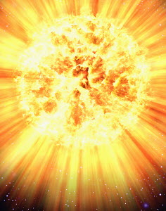 Exploding planet in space