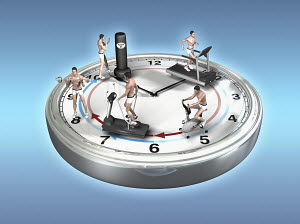 Man exercising around the clock