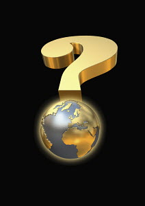 Globe and gold question mark