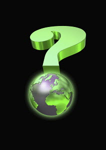 Globe and green question mark