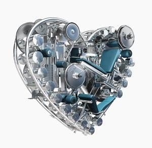 Exercise equipment in metal heart