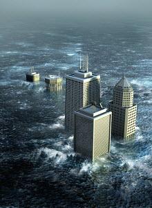 Highrise buildings sinking in flood water