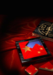 Jigsaw puzzle in box of Chinese flag