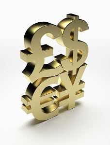 Stacked, gold currency symbols