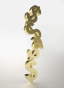 Stacked, gold dollar sign symbols
