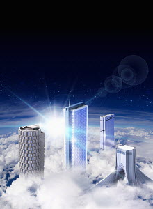 Modern skyscrapers rising above clouds
