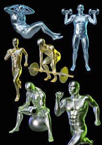 Computer model of man exercising