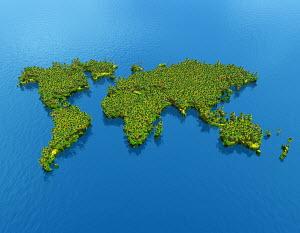 World map covered in vegetation
