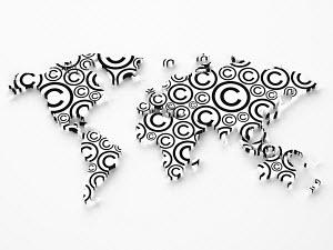 Copyright symbols in shape of world map