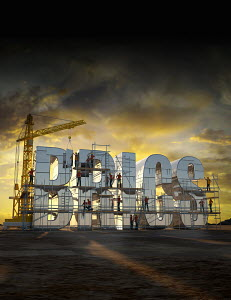 Construction workers building letters that spell 'BRICS'