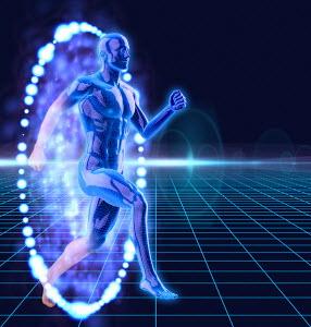 Anatomical man breaking through illuminated barrier