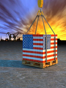 Crane lifting crate painted with American flag