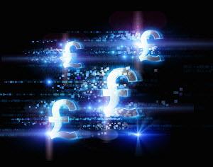 Bright illuminated British pound signs and pixels on black background