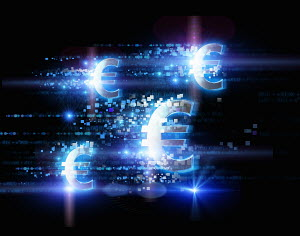 Bright illuminated euro signs and pixels on black background