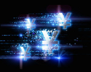 Bright illuminated yen signs and pixels on black background