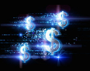 Bright illuminated dollar signs and pixels on black background