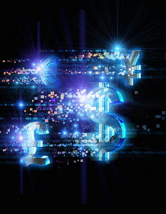 Bright illuminated currency symbols and pixels on black background