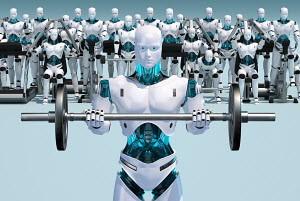 White android holding barbell with androids working out in background