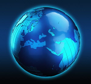 Blue globe focused on the Middle East