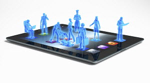 Blue business people standing on digital tablet apps