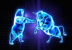 Glowing fighting bull and bear stock market symbols