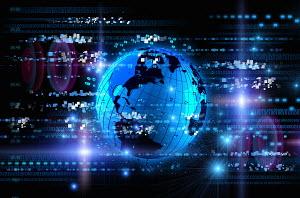 Bright blue futuristic globe with digital data and computer coding