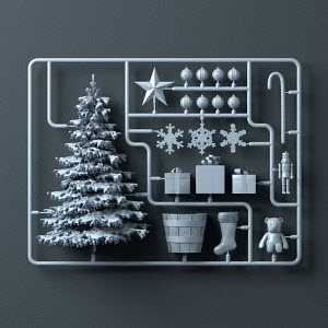 Plastic assembly kit for Christmas tree, presents and decorations