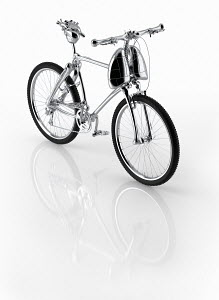 Shiny new bicycle with frame of human heart, lungs and bones