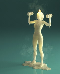 Melting wax candle of woman weight training