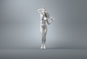 Marble statue of young woman weight training