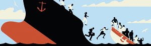 People jumping from sinking ship